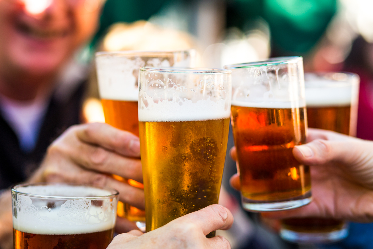 Celebration Toast with Pints of Beer